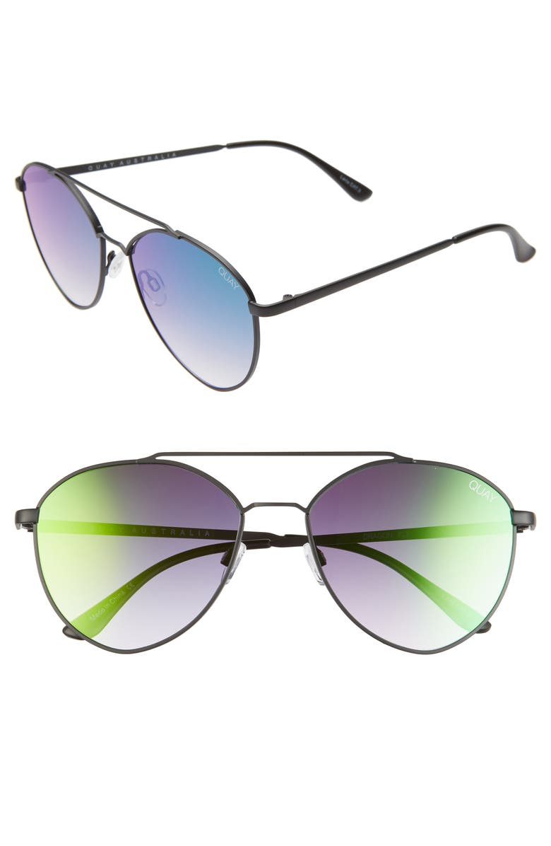 QUAY AUSTRALIA Dragonfly 52mm Mirrored Aviator Sunglasses, Main, color, BLACK/ PINK RAINBOW