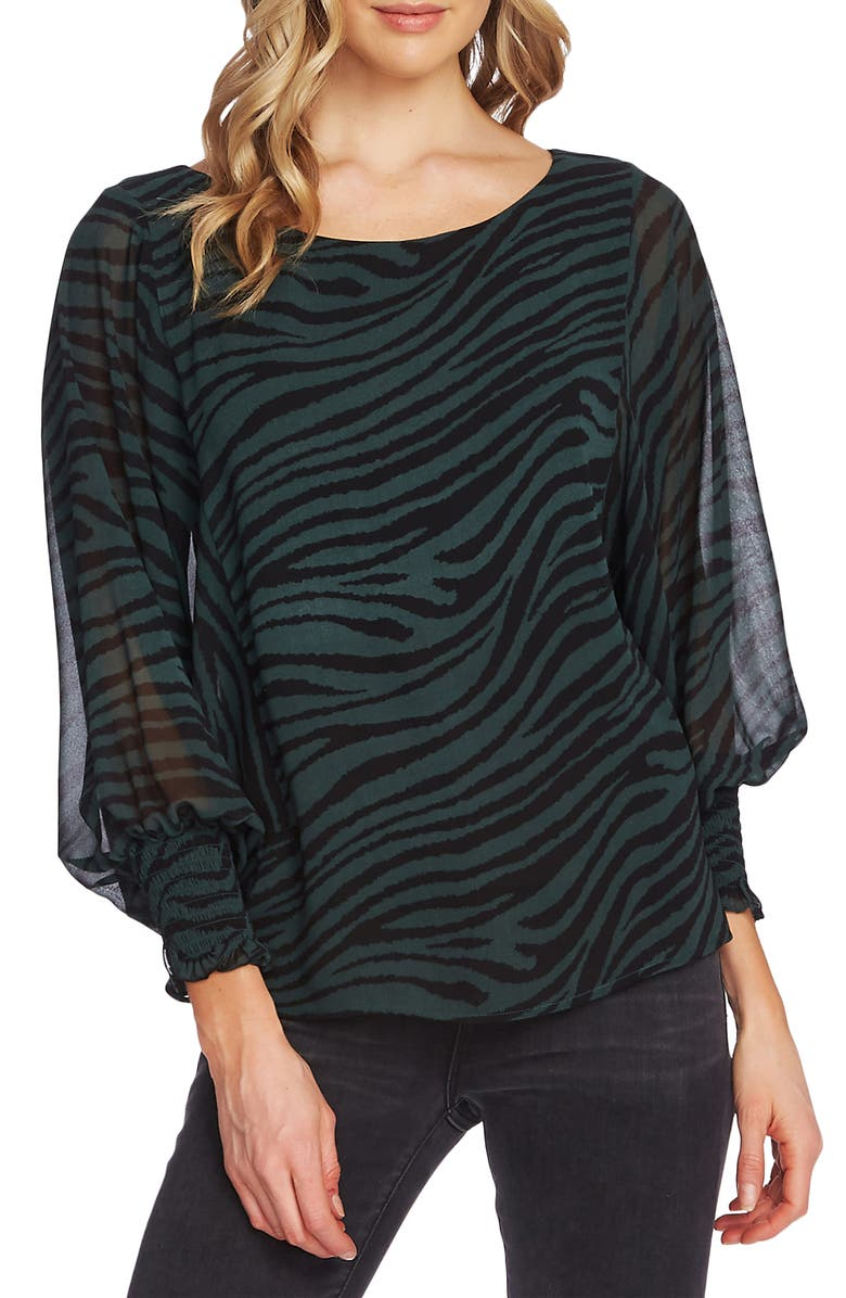 VINCE CAMUTO Animal Stripe Batwing Sleeve Top, Main, color, DARK WILLOW