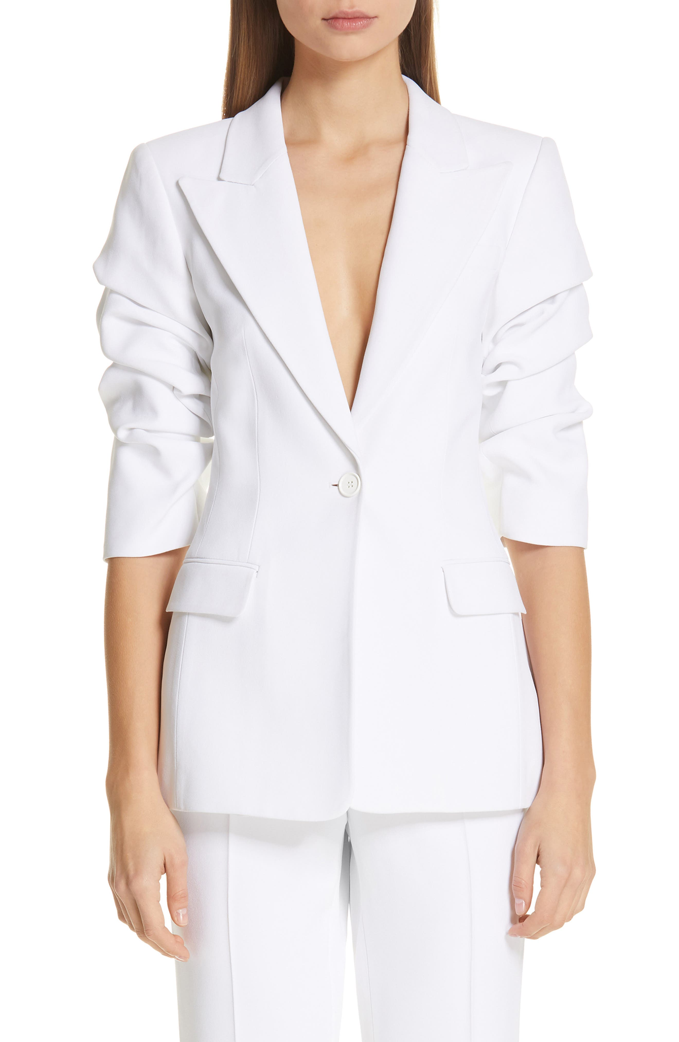 ,                             Ruched Sleeve Blazer,                             Main thumbnail 1, color,                             OPTIC WHITE