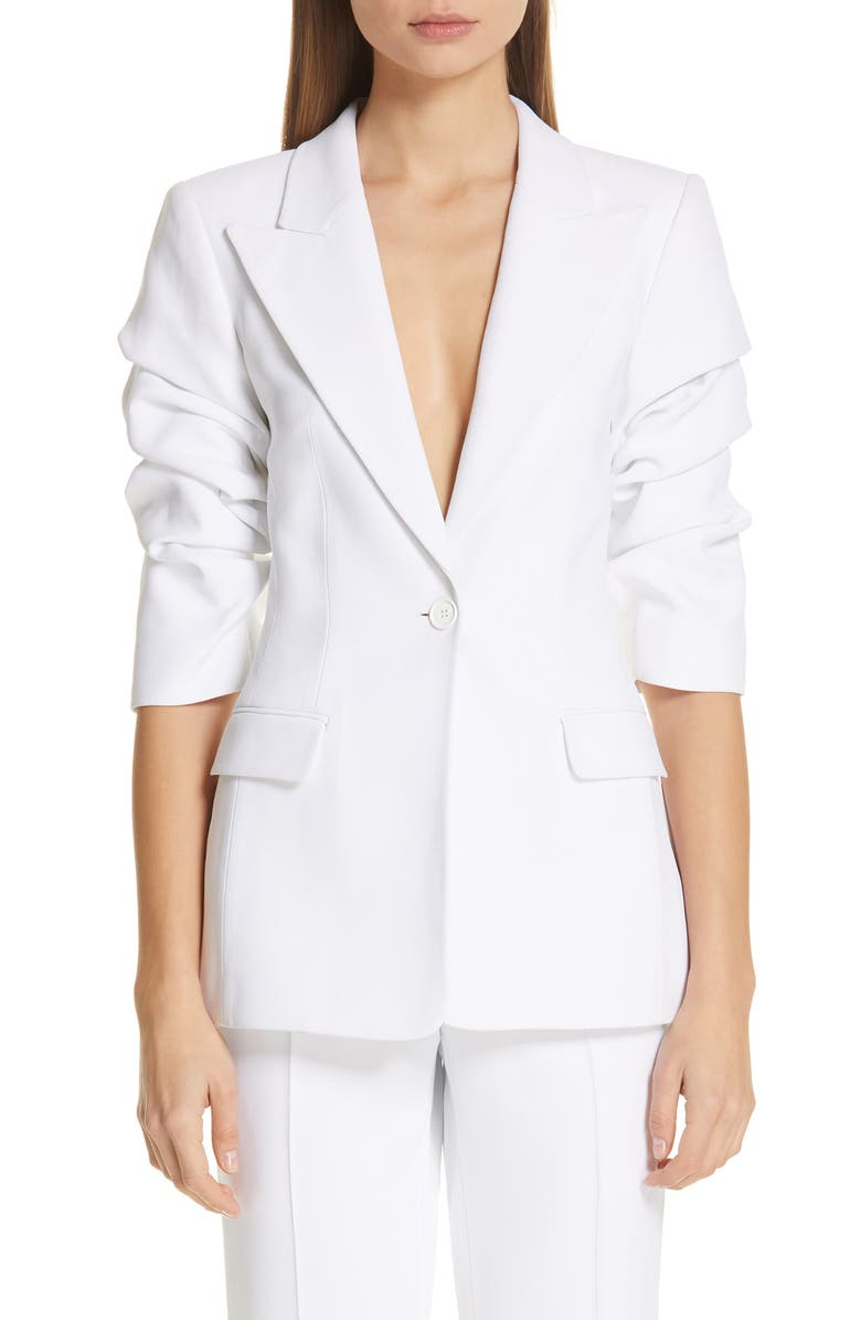 MICHAEL KORS Ruched Sleeve Blazer, Main, color, OPTIC WHITE