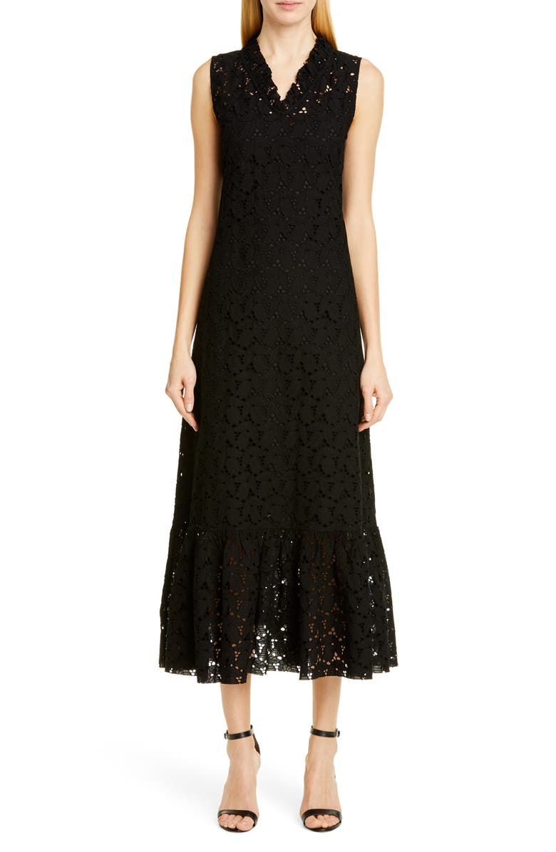 MERLETTE Ardennes Broderie Anglaise Midi Dress, Main, color, BLACK