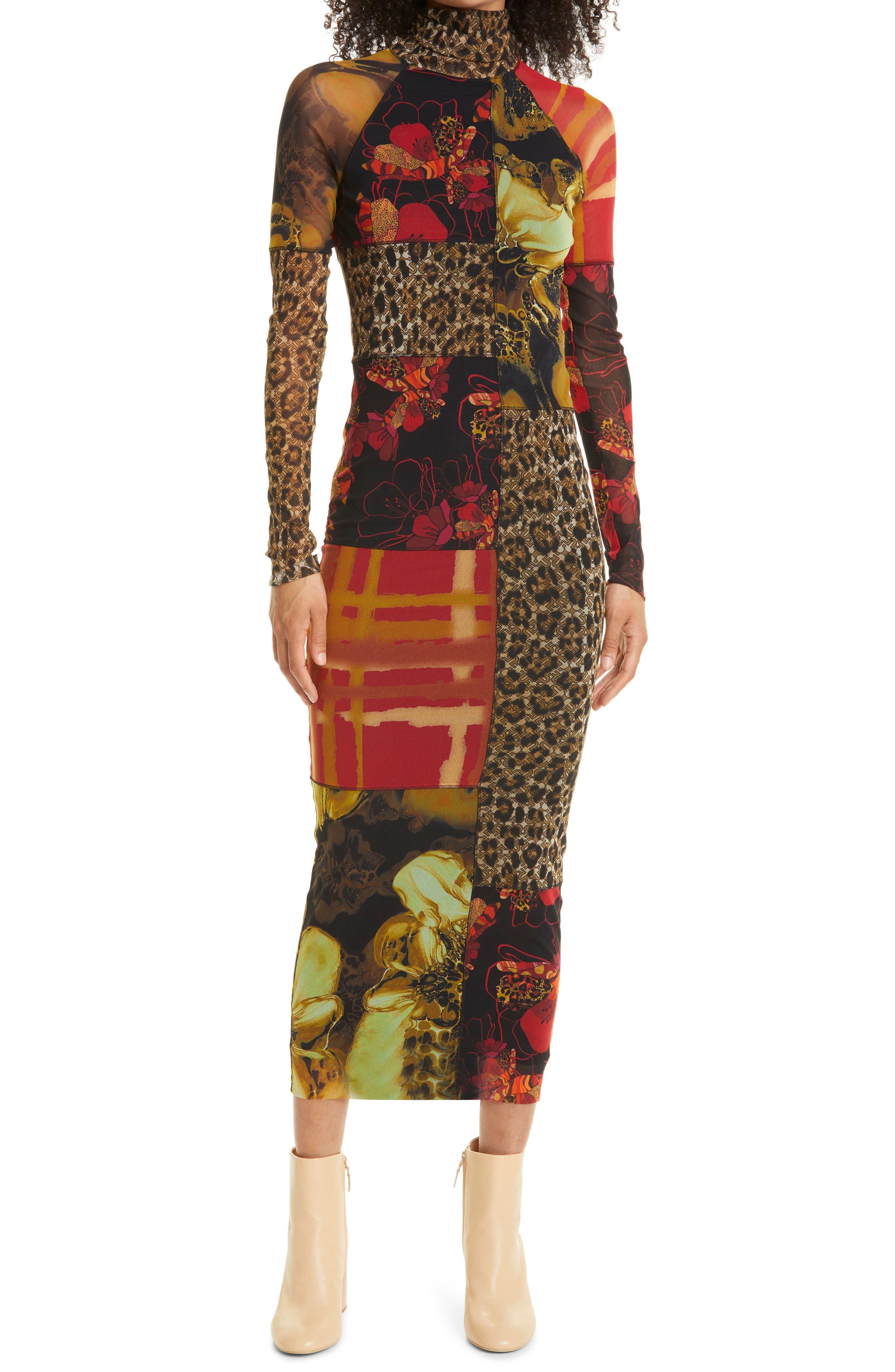 Mix Print Long Sleeve Mesh Dress