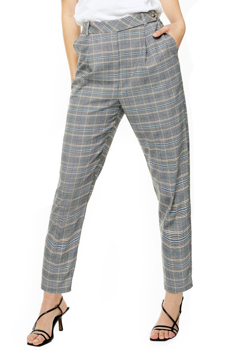 TOPSHOP High Waist Tapered Plaid Trousers, Main, color, 020