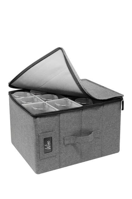 Image of Sorbus Wine Glasses Storage Box - Grey