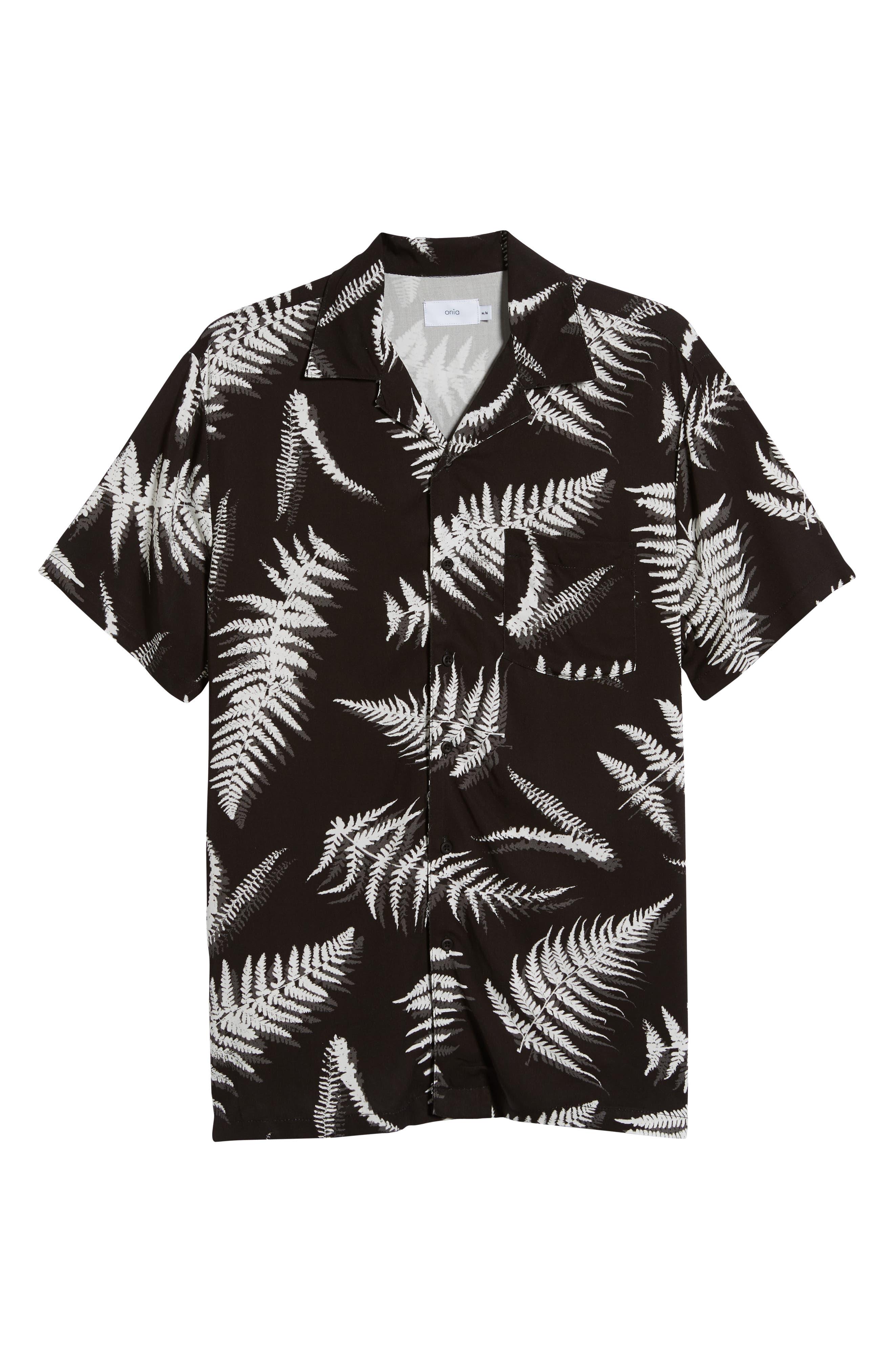 ,                             Fern Leaves Vacation Shirt,                             Alternate thumbnail 5, color,                             BLACK