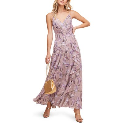 Astr The Label Floral Ruffle Detail Maxi Dress, Pink