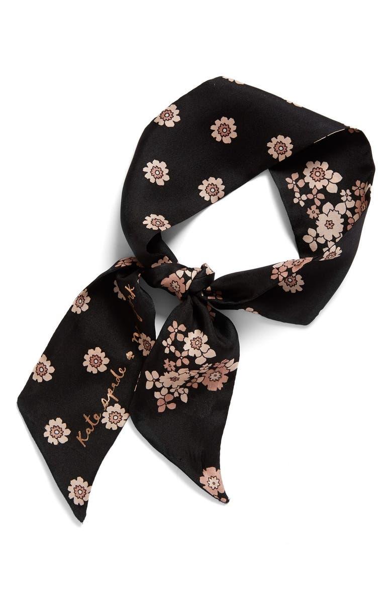 KATE SPADE NEW YORK reversible floral print silk scarf, Main, color, 001