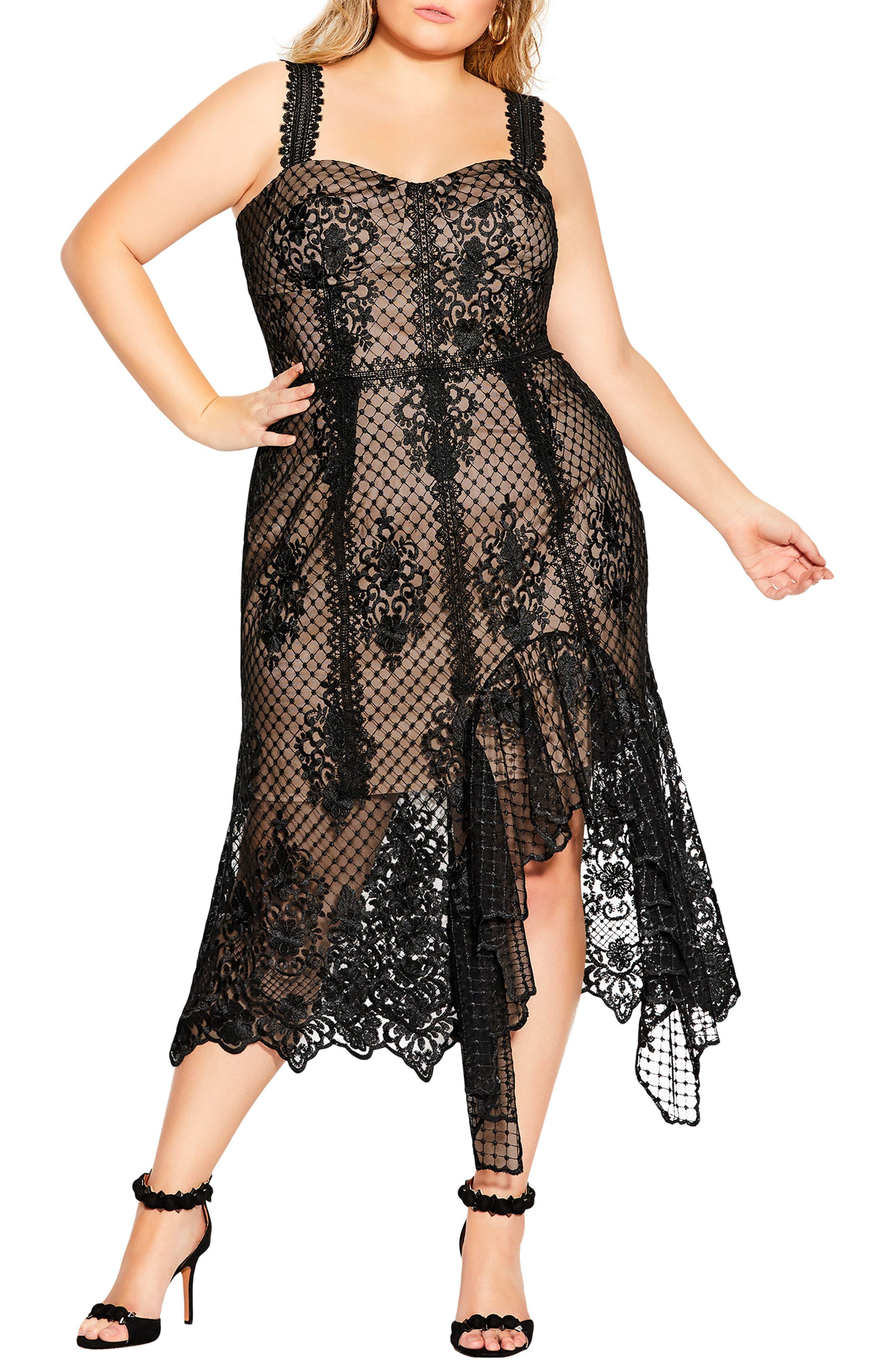 Glamorous Illusion Lace Mermaid Midi Dress