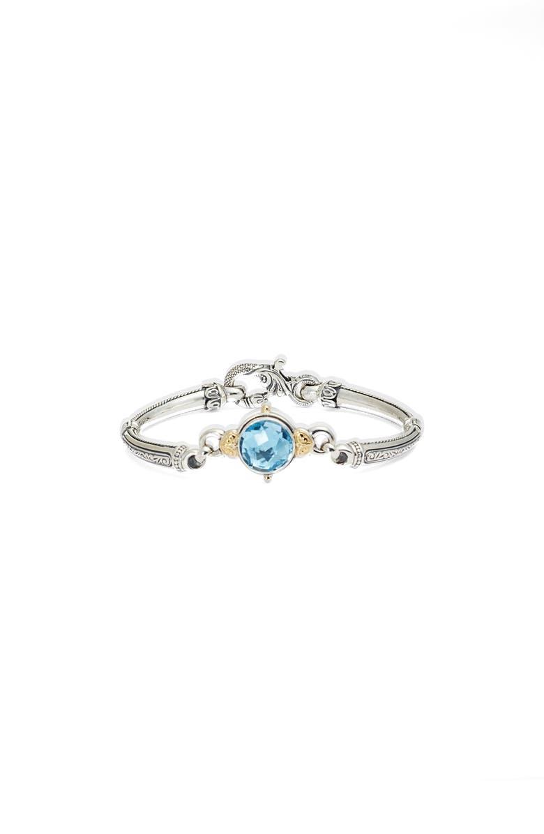 KONSTANTINO Hermione Round Stone Hinge Bracelet, Main, color, SILVER/ BLUE TOPAZ