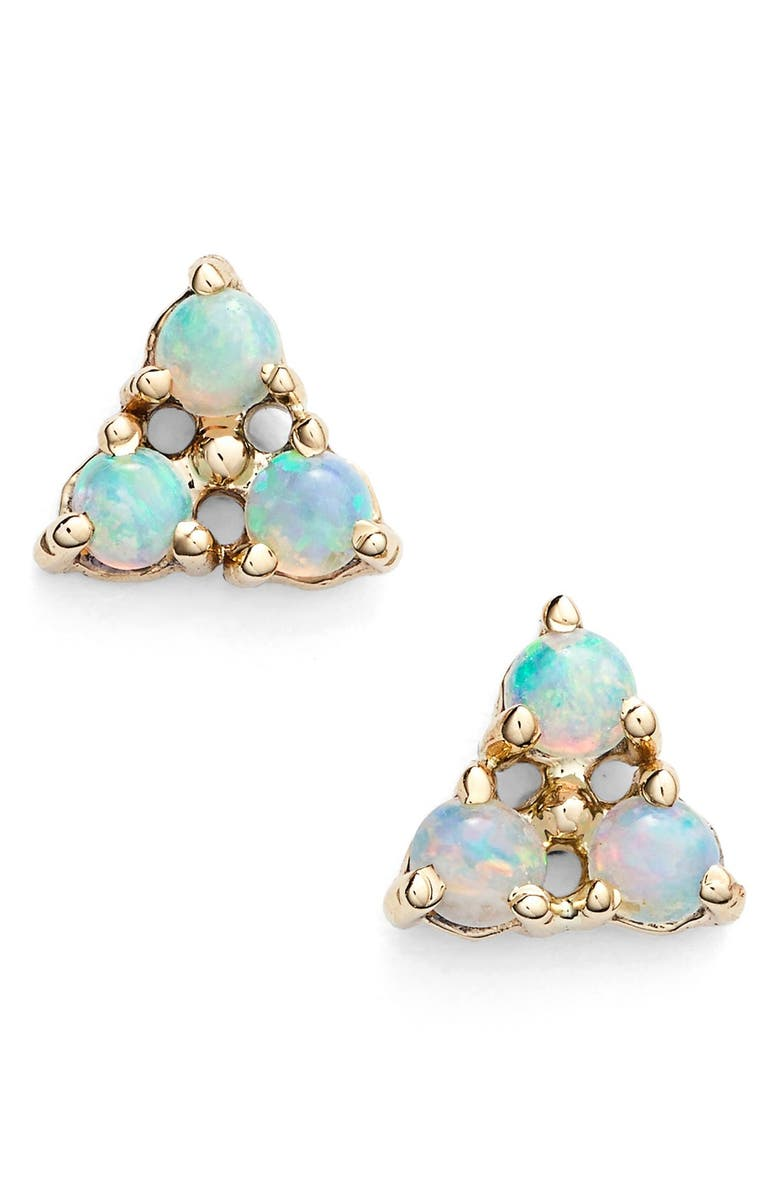 WWAKE Triangle Opal Earrings, Main, color, YELLOW GOLD
