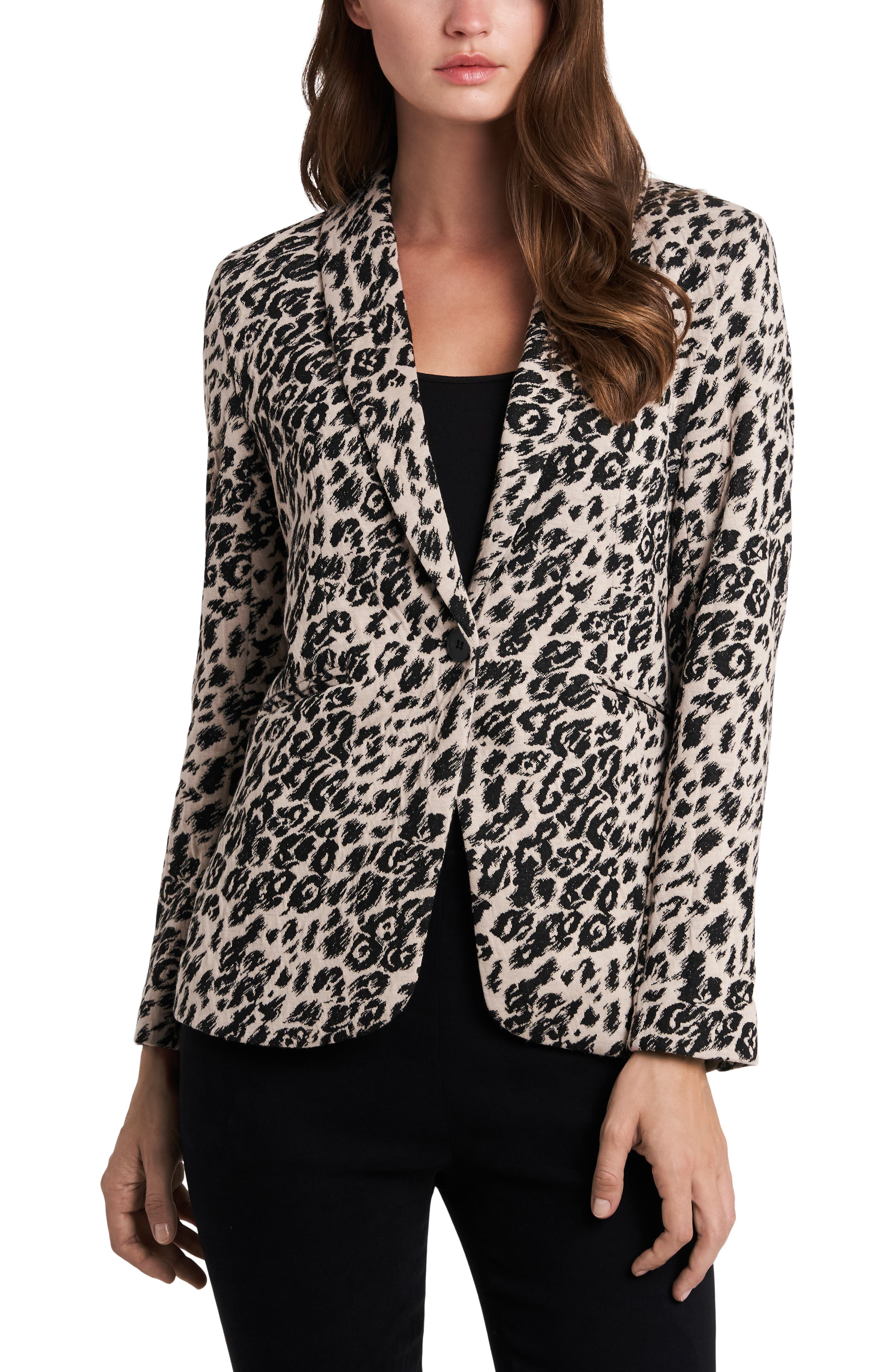 Image of Vince Camuto Leopard Print One Button Blazer
