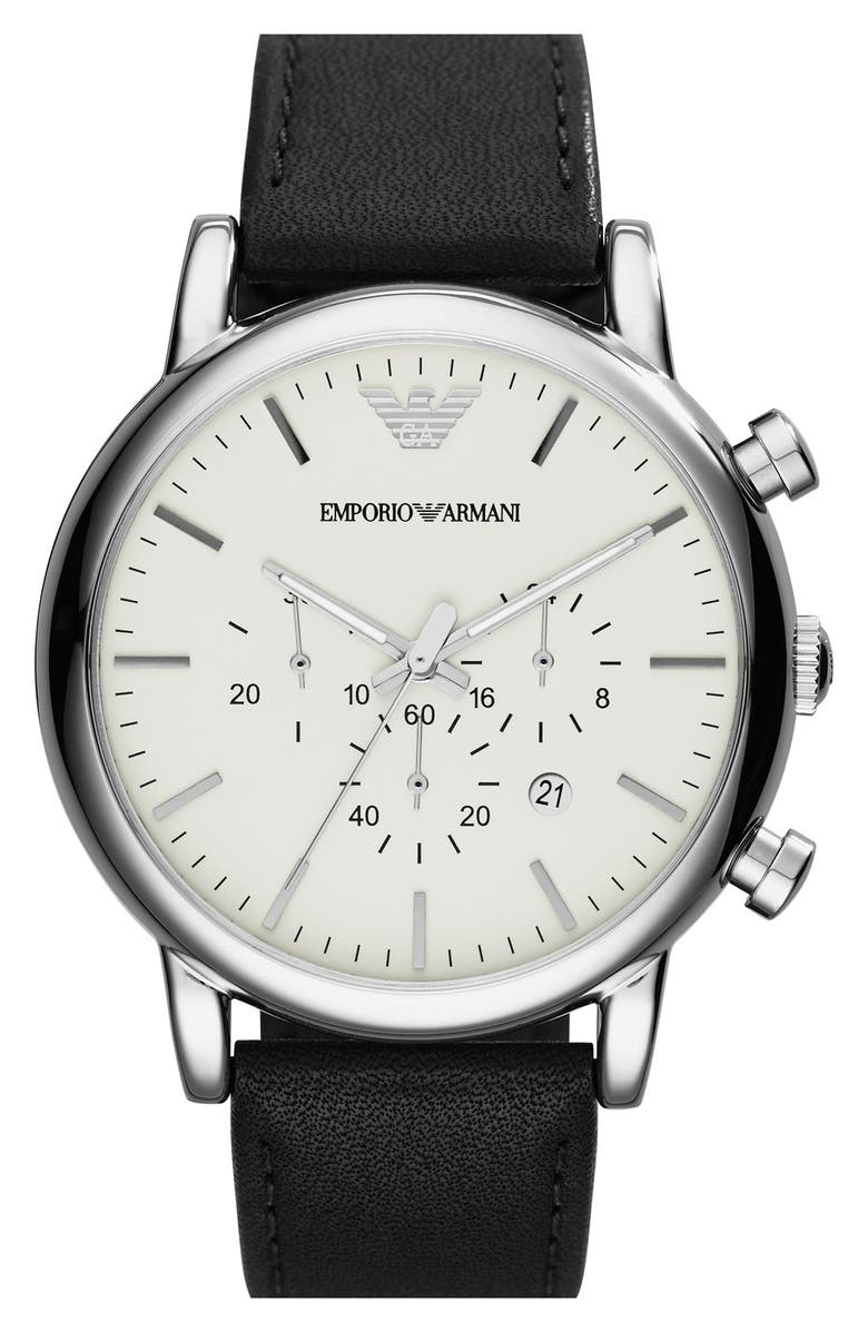 EMPORIO ARMANI Chronograph Leather Strap Watch, 46mm, Main, color, 001