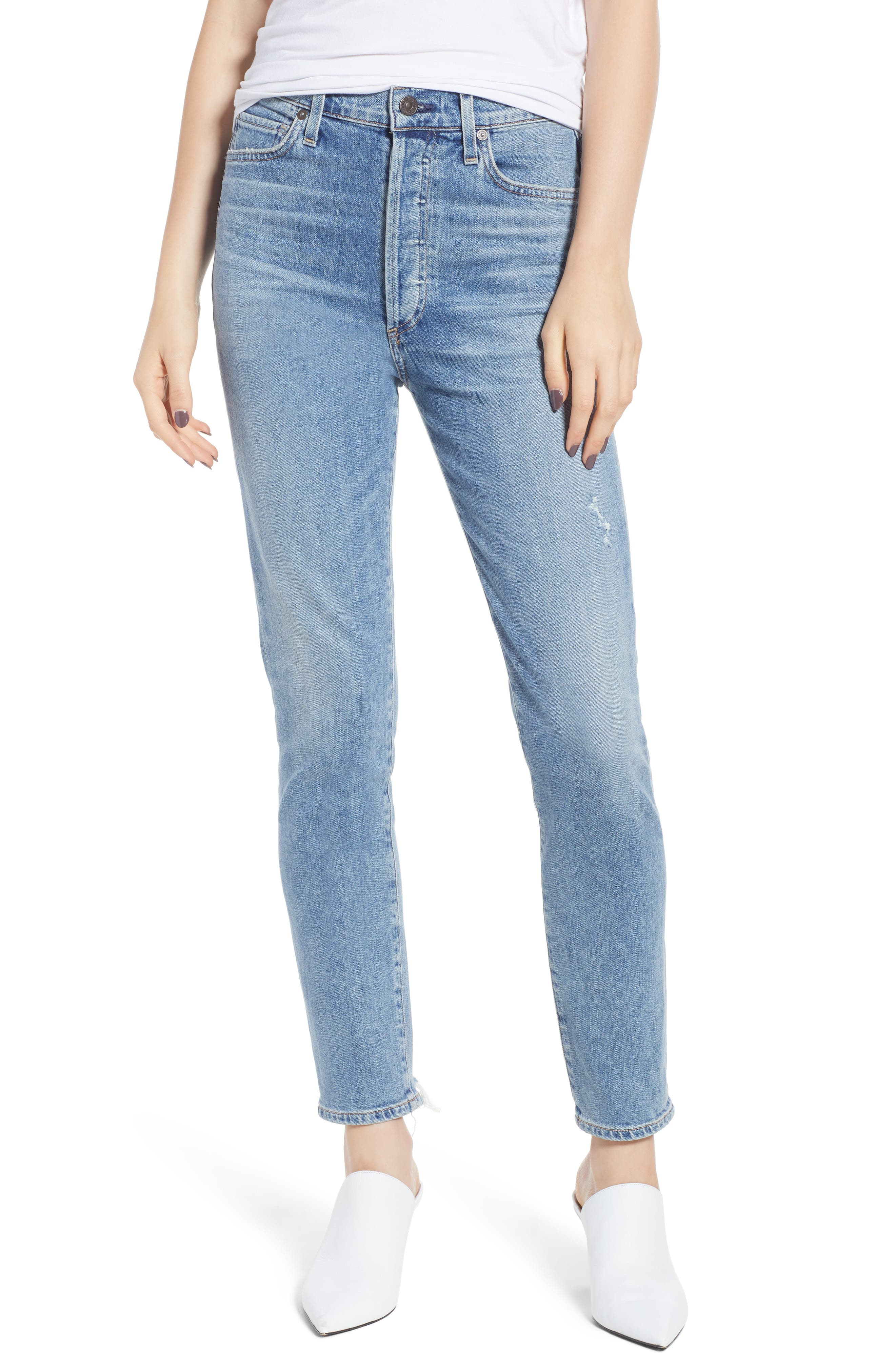 ,                             Olivia High Waist Ankle Slim Jeans,                             Main thumbnail 1, color,                             BACK ROAD