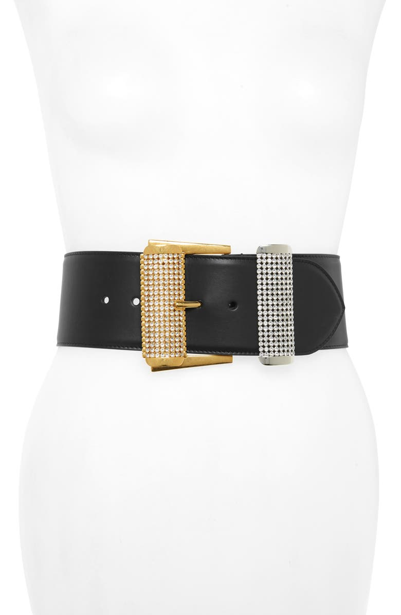 VERSACE Two Tone Strass Buckle Leather Belt, Main, color, NERO/ ORO TRIBUTE