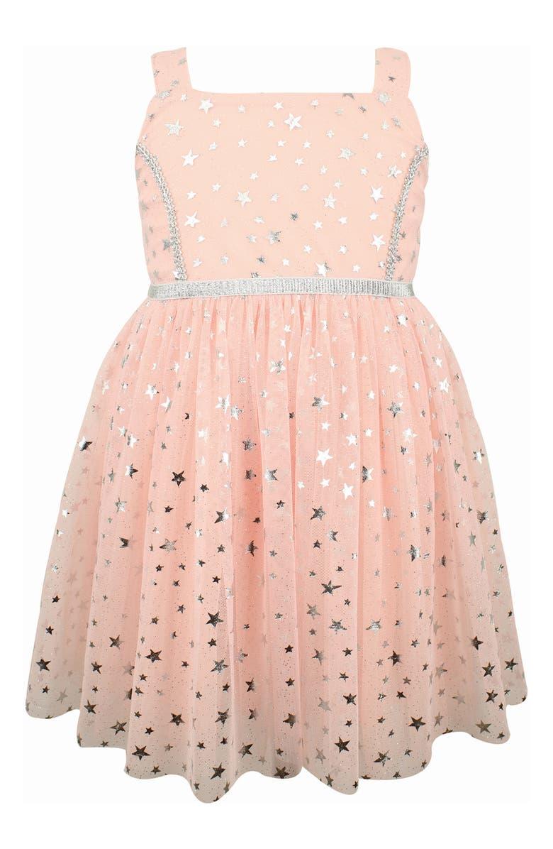 POPATU Metallic Star Tulle Dress, Main, color, PEACH