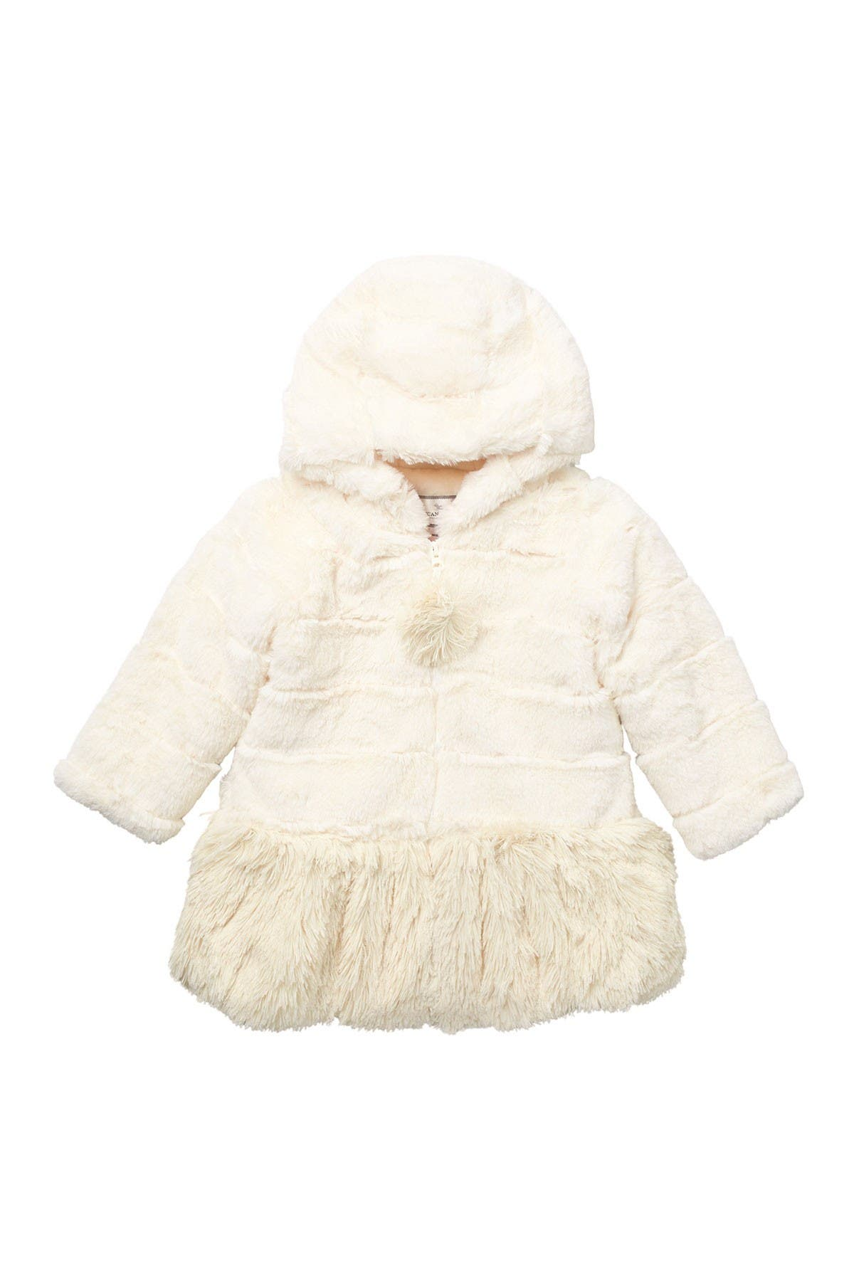 Image of WIDGEON Hooded Shaggy Bottom Faux Fur Coat