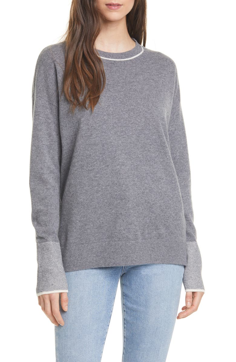 NORDSTROM SIGNATURE Crewneck Cashmere Tunic Sweater, Main, color, 030