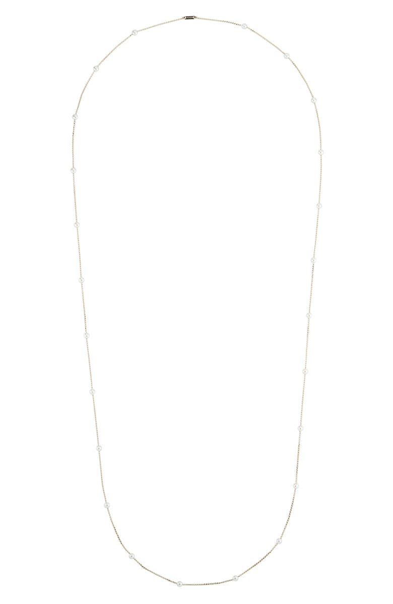 MIZUKI Long Pearl Station Necklace, Main, color, YELLOW GOLD/ PEARL