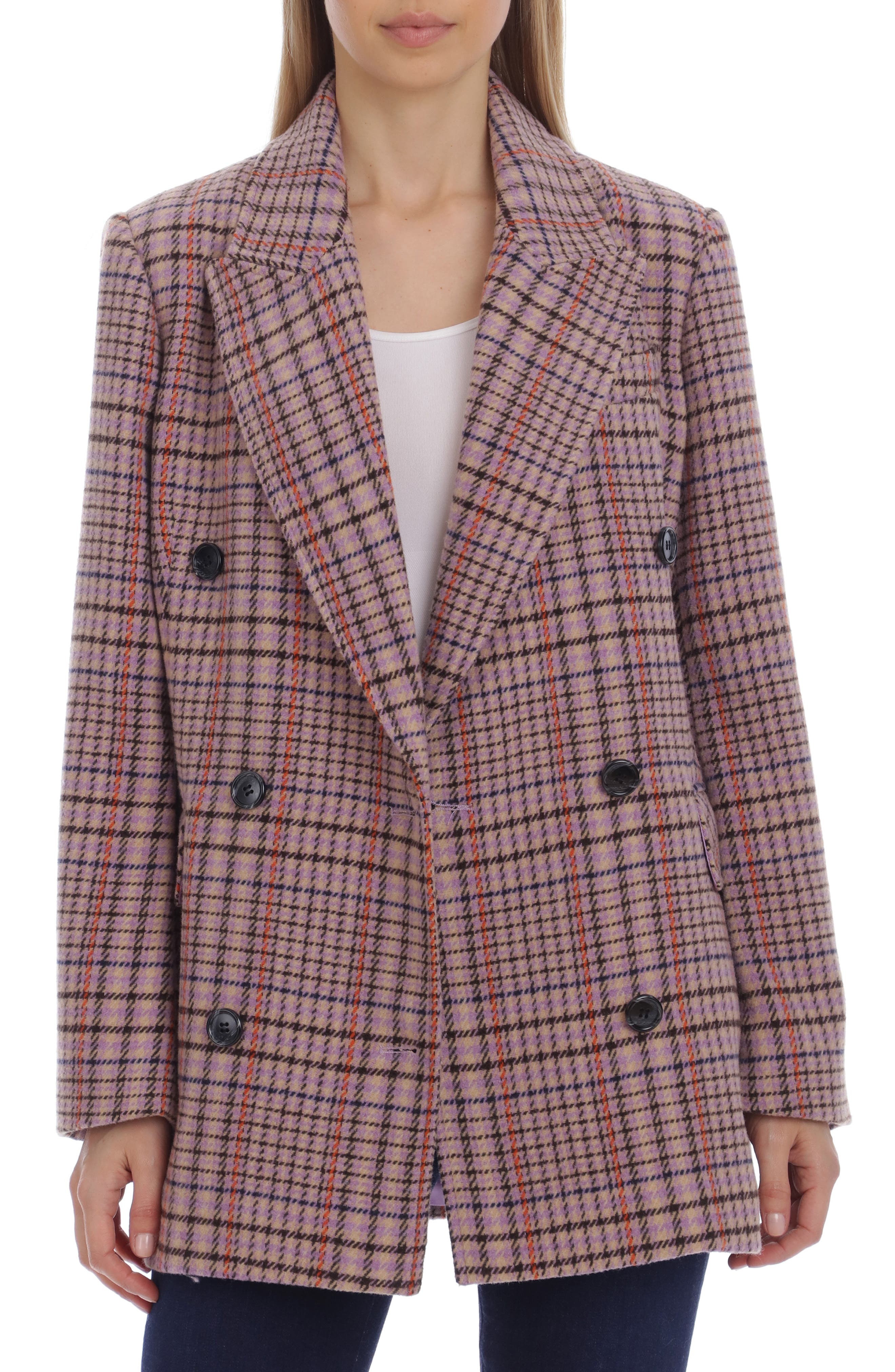 Oversize Double Breasted Plaid Blazer
