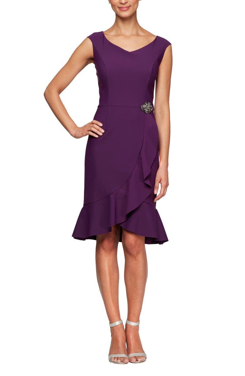 ALEX EVENINGS Ruffle Hem Sheath Dress, Main, color, SUMMER PLUM