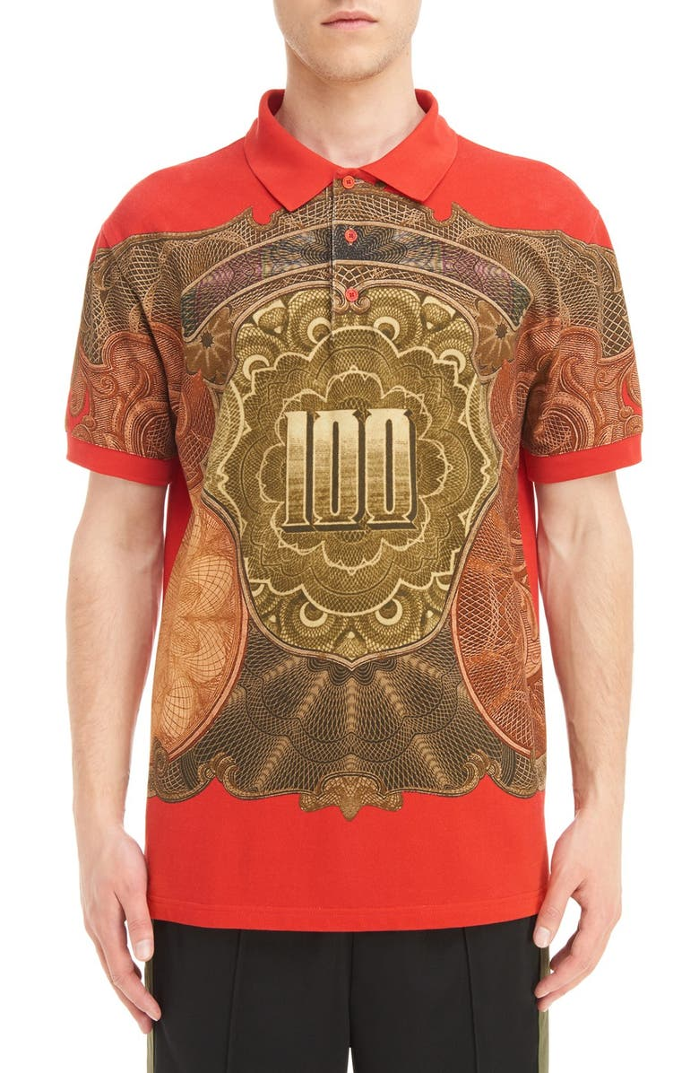 GIVENCHY Currency Print Polo, Main, color, RED