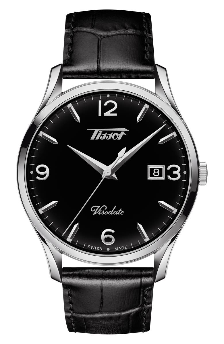 TISSOT Heritage Visodate Leather Strap Watch, 40mm, Main, color, BLACK/ SILVER
