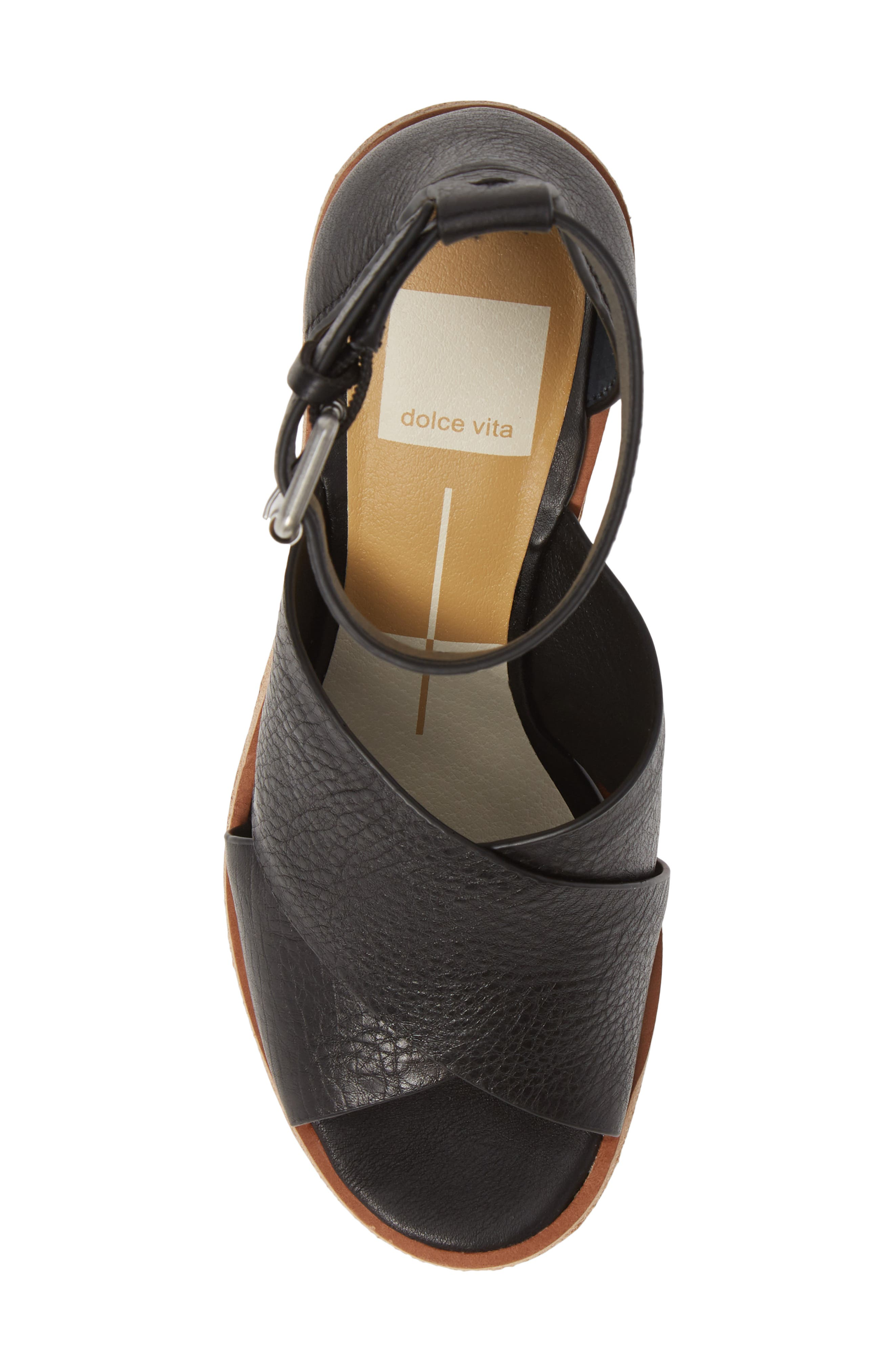 ,                             Urbane Wedge Sandal,                             Alternate thumbnail 5, color,                             BLACK LEATHER
