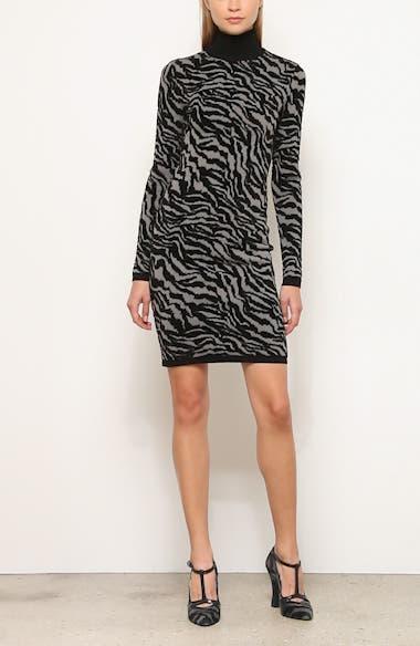 Michael Kors Zebra Jacquard Long Sleeve Sweater Dress, video thumbnail