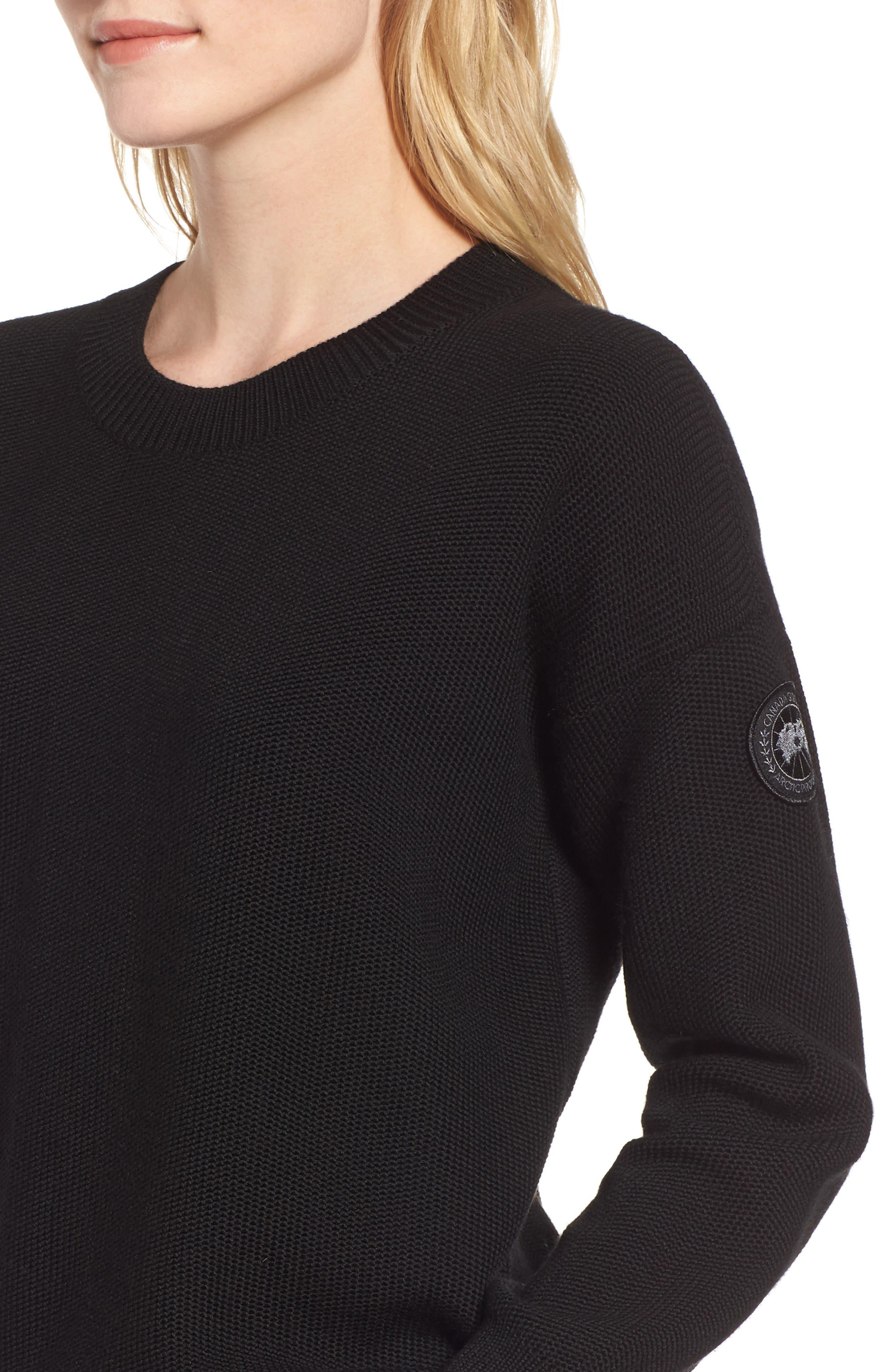 ,                             Aleza Merino Wool Sweater,                             Alternate thumbnail 4, color,                             BLACK