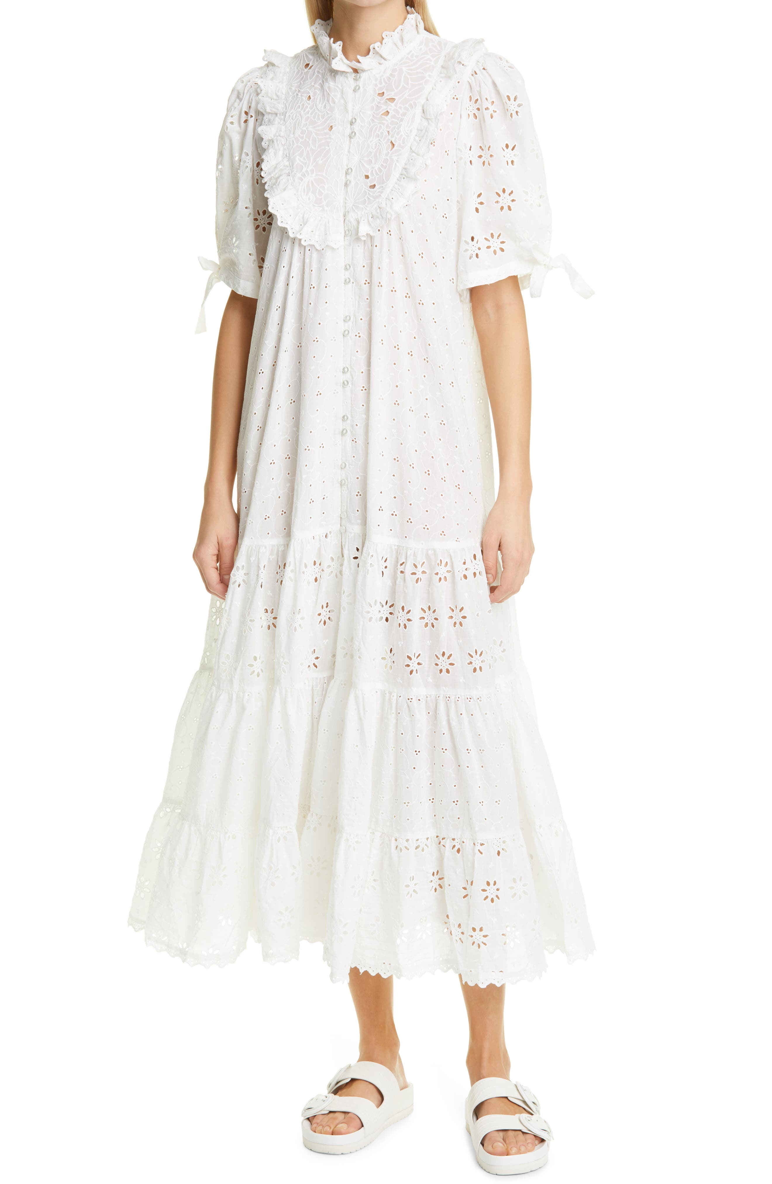 Broderie Anglaise Bib Front Midi Dress