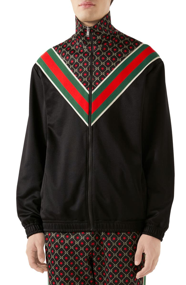 GUCCI GG Star Print Technical Jersey Jacket, Main, color, BLACK/ YARD/ LIVE RED