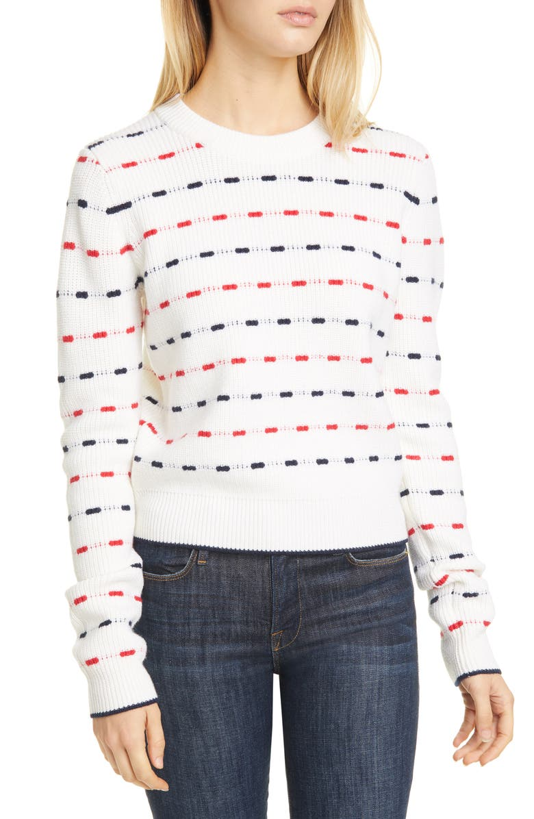 LA LIGNE Jacquard Stripe Wool Sweater, Main, color, CREAM/ RED/ NAVY