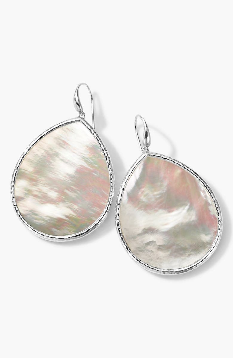 IPPOLITA 'Polished Rock Candy' Large Teardrop Earrings, Main, color, SILVER/ MOTHER OF PEARL