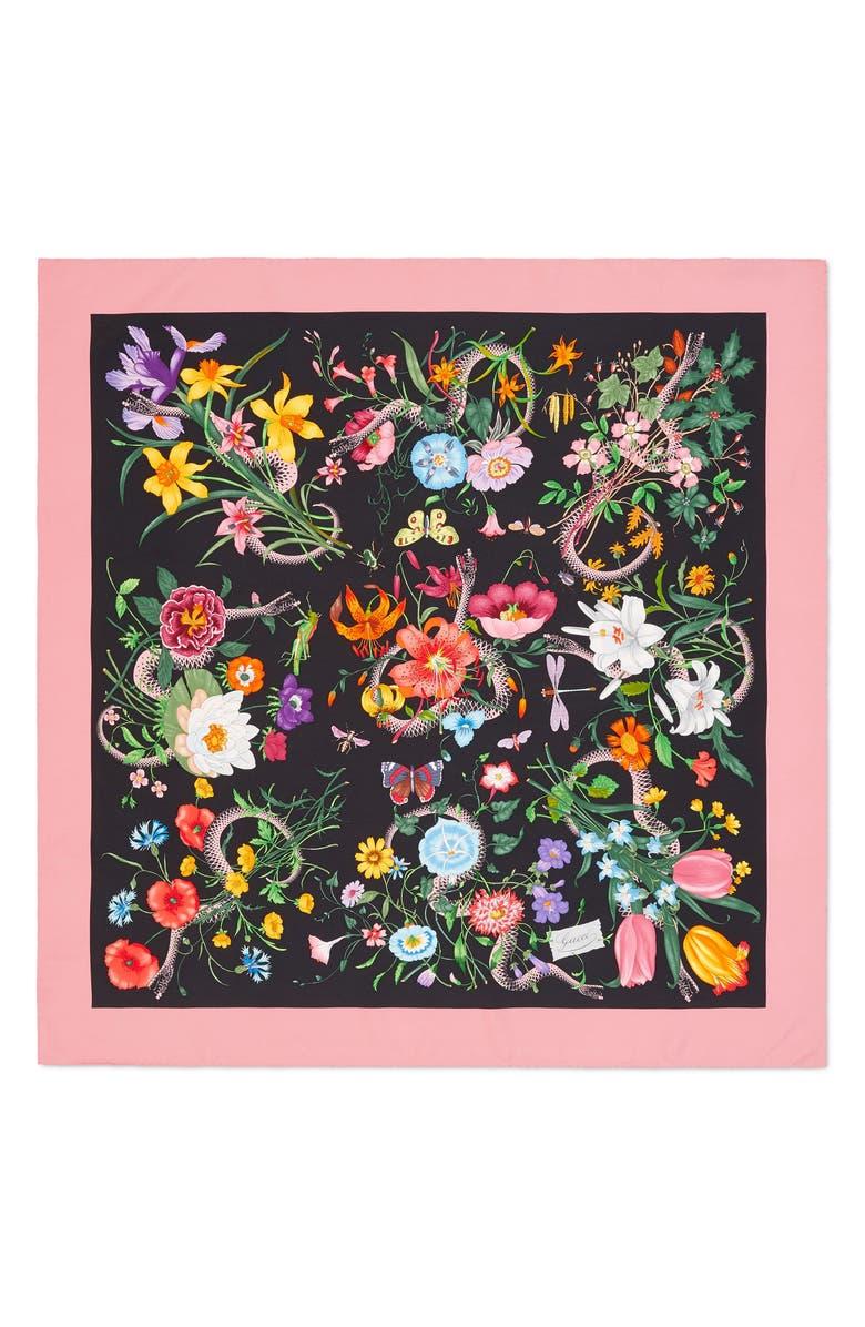 GUCCI Flora Snake Foulard Silk Twill Scarf, Main, color, BLACK/ PINK