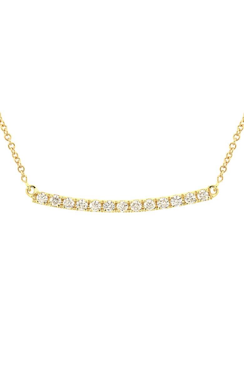 BONY LEVY Stick Pavé Diamond Bar Necklace, Main, color, YELLOW GOLD
