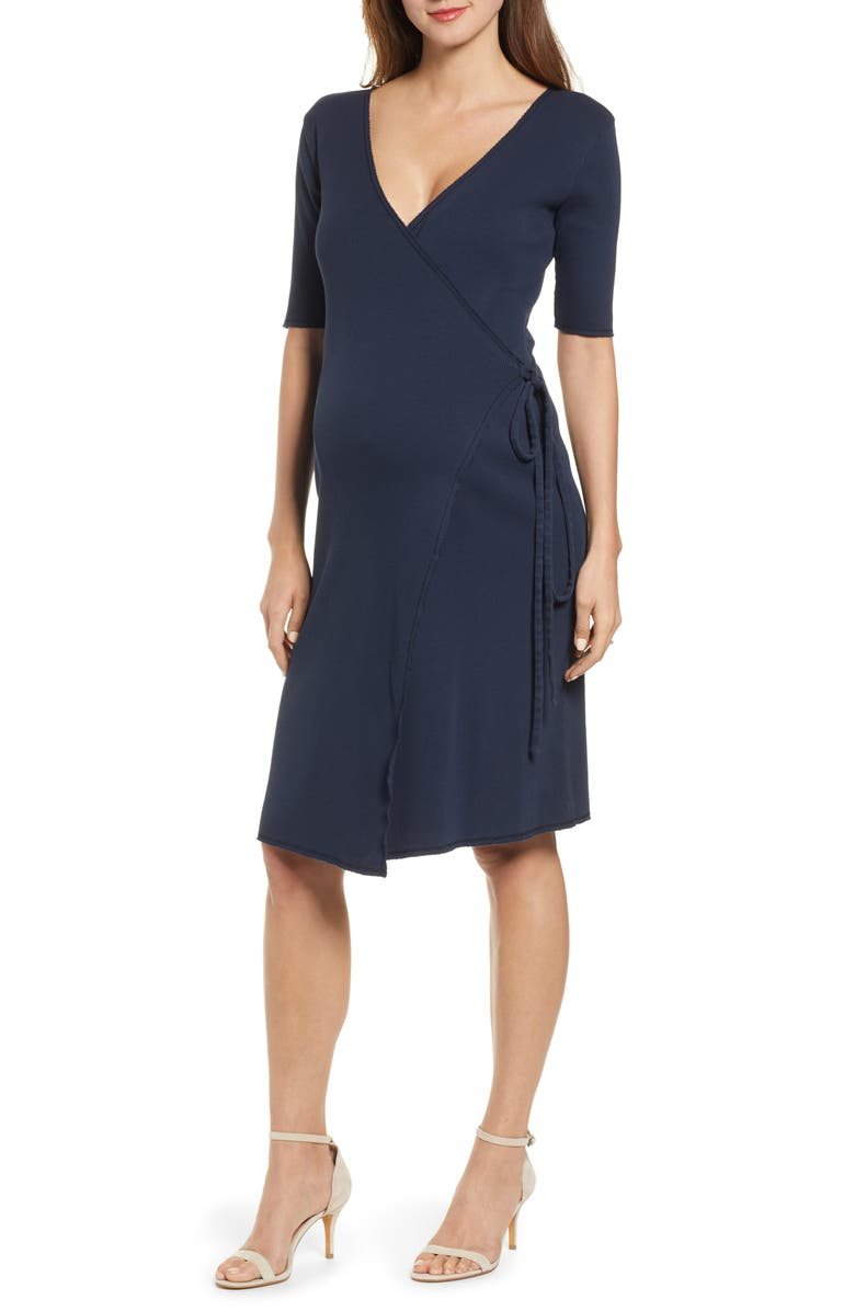 HATCH Naomi Wrap Dress, Main, color, NAVY