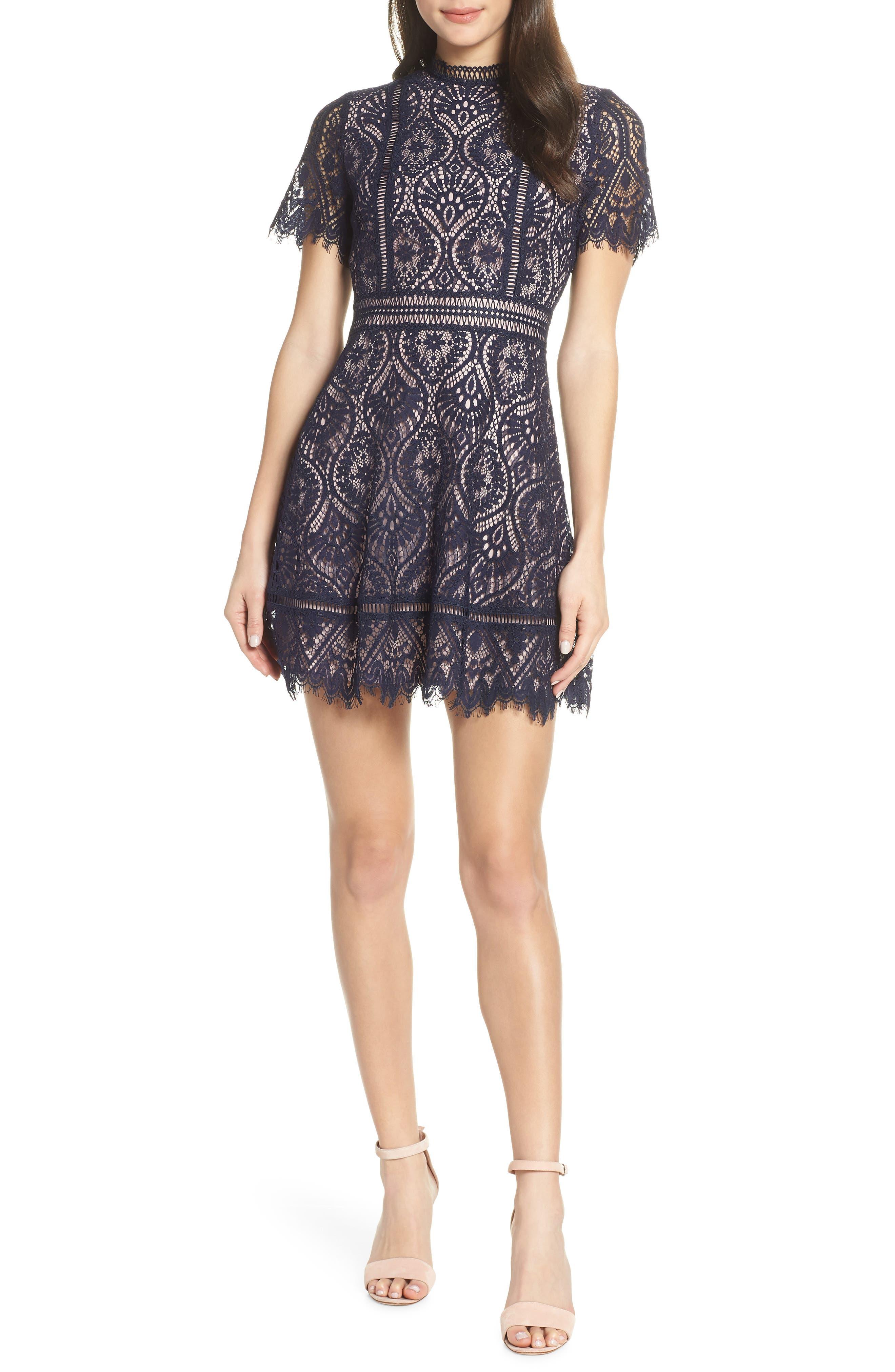Bb Dakota On List Short Sleeve Lace Fit & Flare Dress, Blue