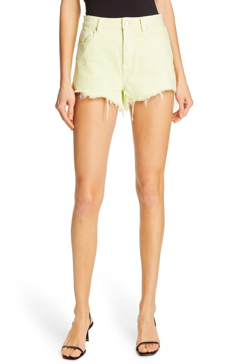 DENIM X ALEXANDER WANG Bite Denim Shorts, Main, color, HIGHLIGHTER