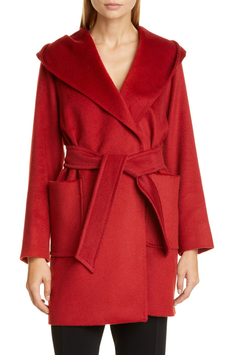 MAX MARA Rialto Hooded Camel Hair Coat, Main, color, RED