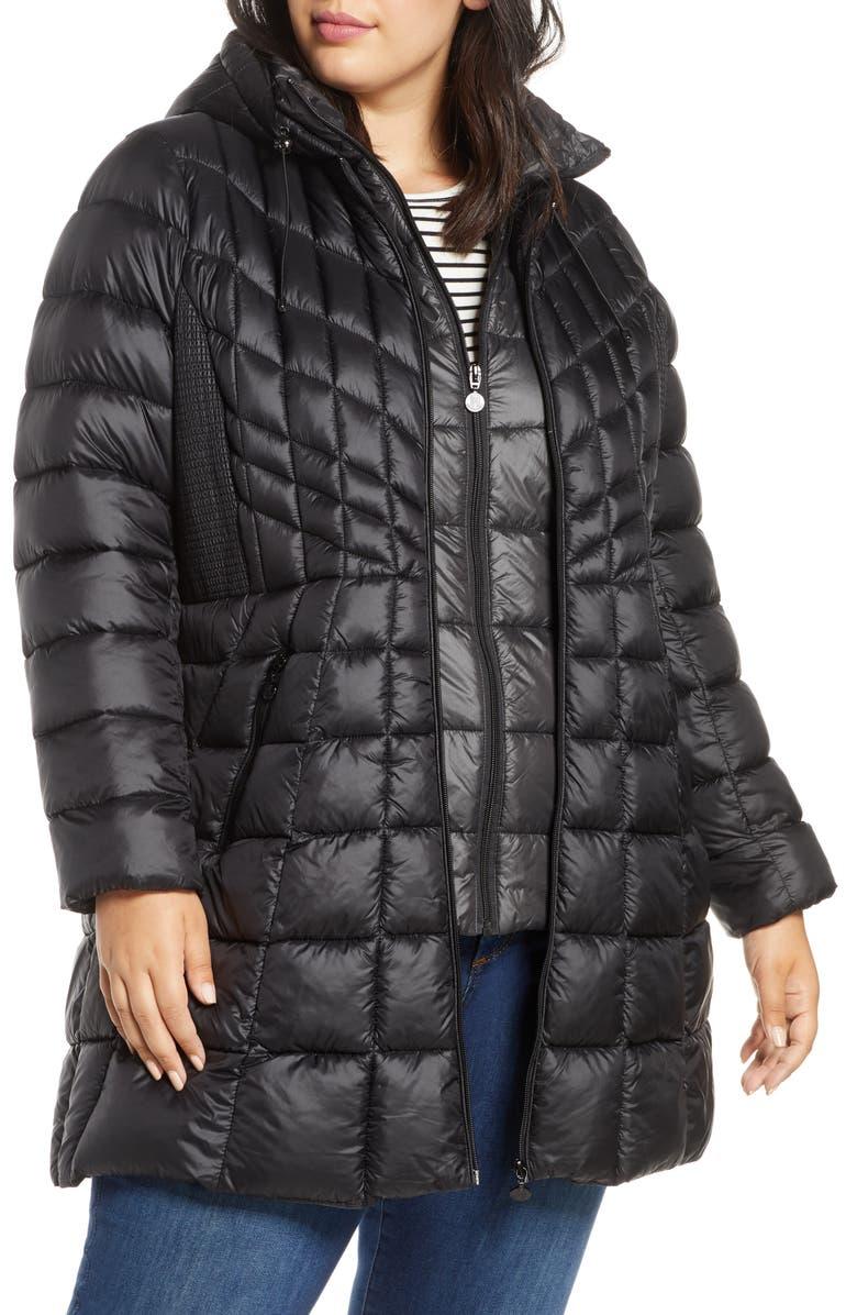 BERNARDO Packable Hooded Down & EcoPlume Fill Coat with Contrast Inset Bib, Main, color, BLACK