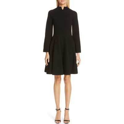 Emporio Armani Long Sleeve Tuck Stitch Sweater Dress, US / 44 IT - Black