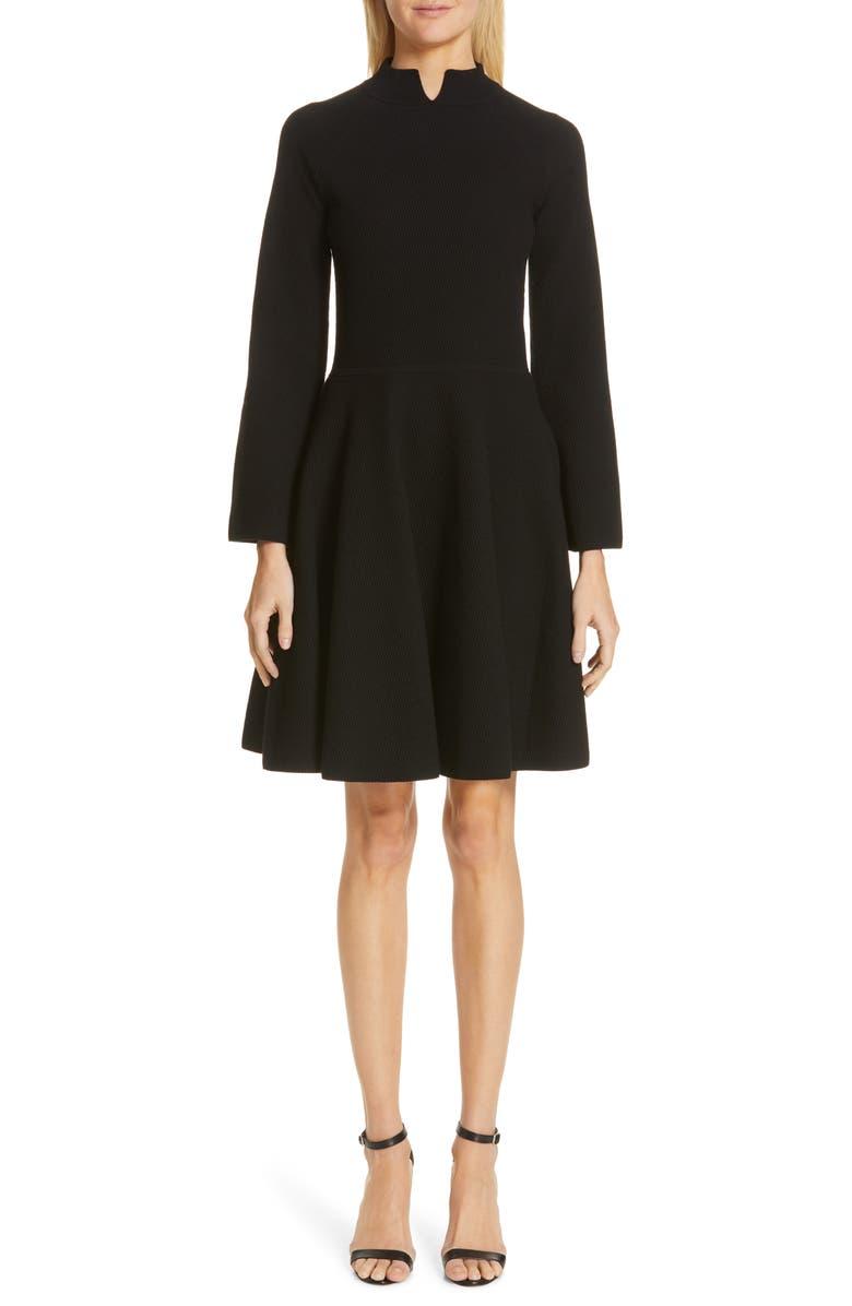 EMPORIO ARMANI Long Sleeve Tuck Stitch Sweater Dress, Main, color, BLACK