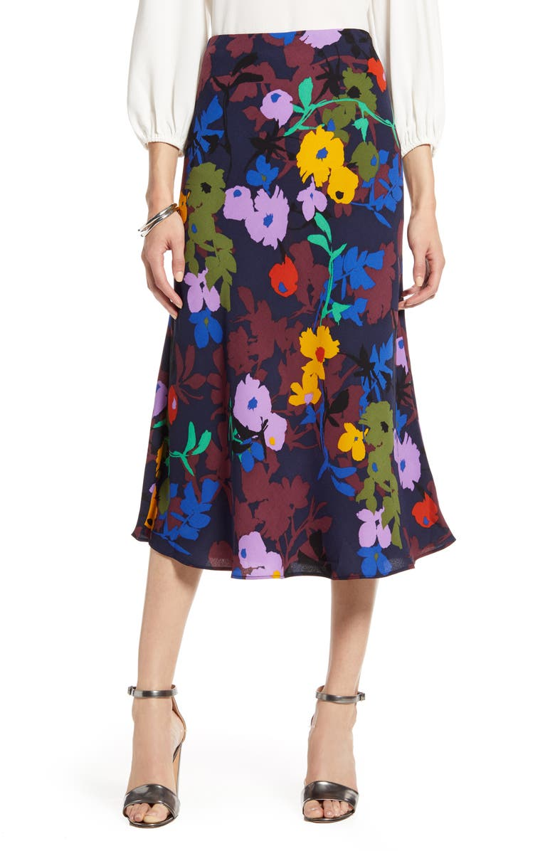 HALOGEN<SUP>®</SUP> Bias Cut A-Line Midi Skirt, Main, color, BURGUNDY MULTI FLORAL