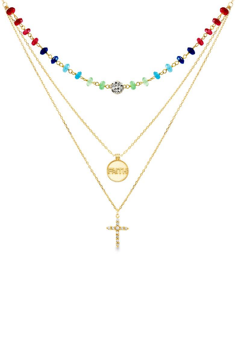 LESA MICHELE Crystal Cross Pendant Layered Necklace, Main, color, GOLD/ MULTI