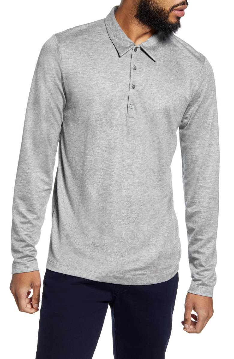 THEORY Sharp Slim Fit Long Sleeve Polo, Main, color, GREY/ MED GREY