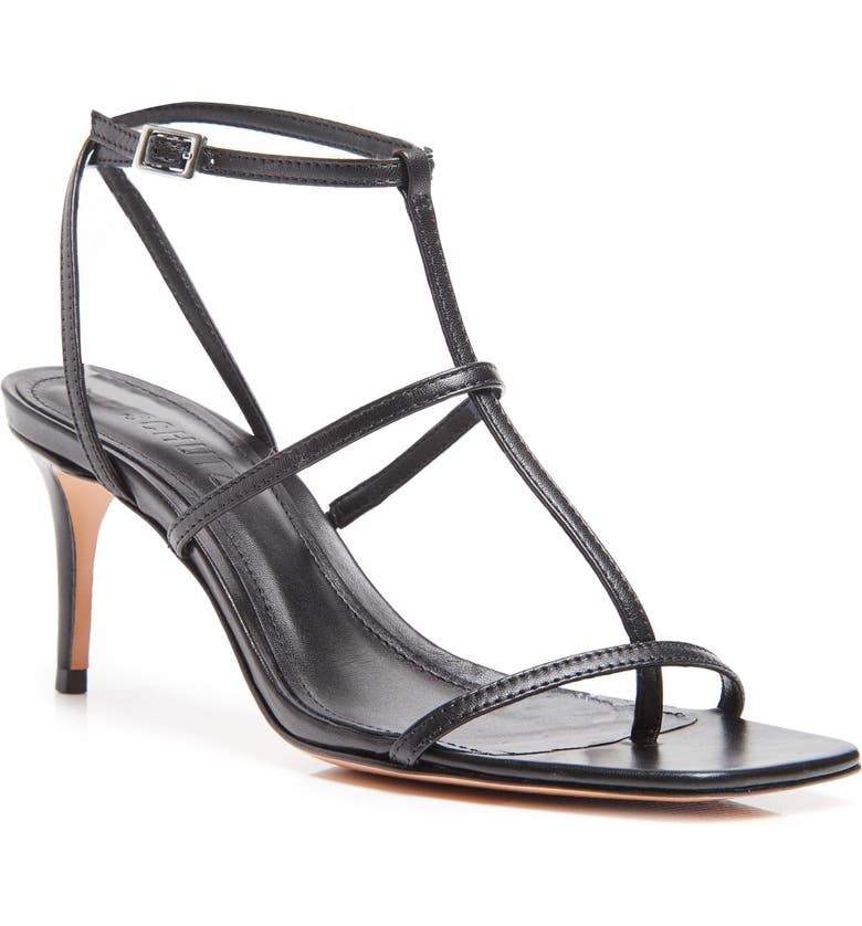 SCHUTZ Ameena T-Strap Thong Sandal, Main, color, BLACK LEATHER