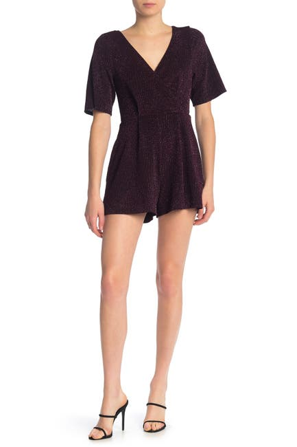 Image of ROW A Short Sleeve Glitter Knit Romper