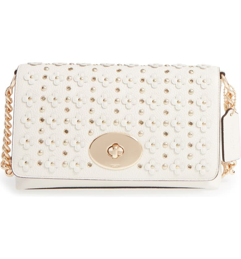 COACH 'Crosstown' Studded Floral Embellished Leather Crossbody Bag, Main, color, 100