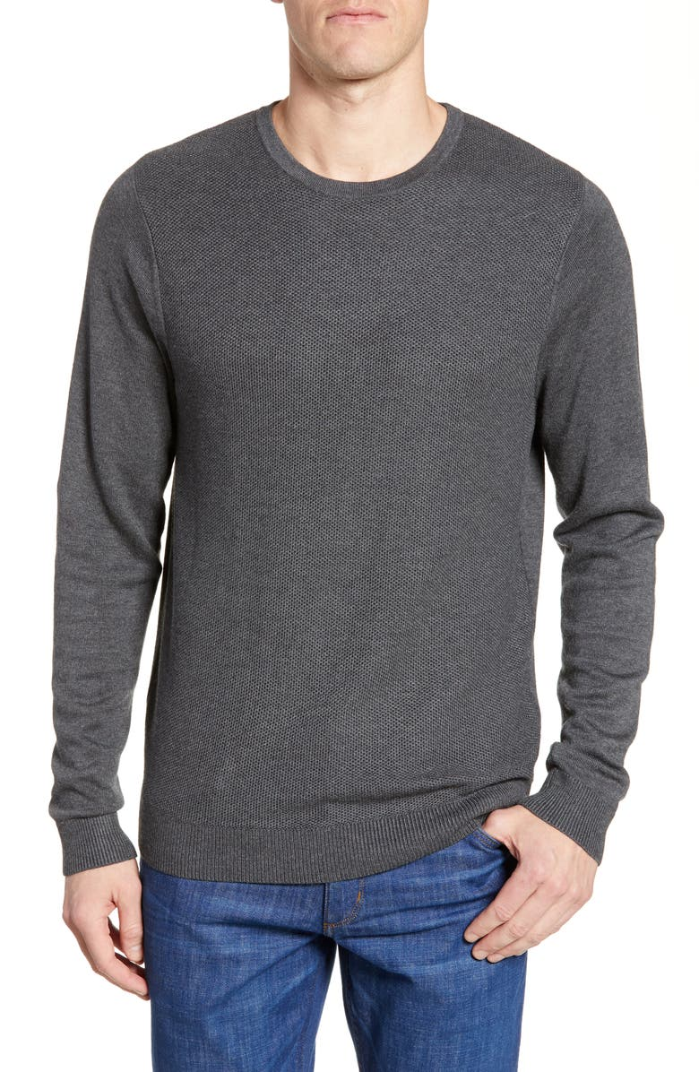 NORDSTROM MEN'S SHOP Honeycomb Crewneck Sweater, Main, color, GREY DARK CHARCOAL HEATHER