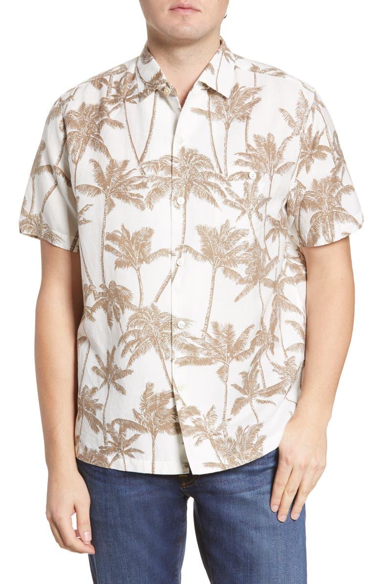 TORI RICHARD The Grove Palm Tree Print Short Sleeve Linen Blend Button-Up Shirt, Main, color, NATURAL